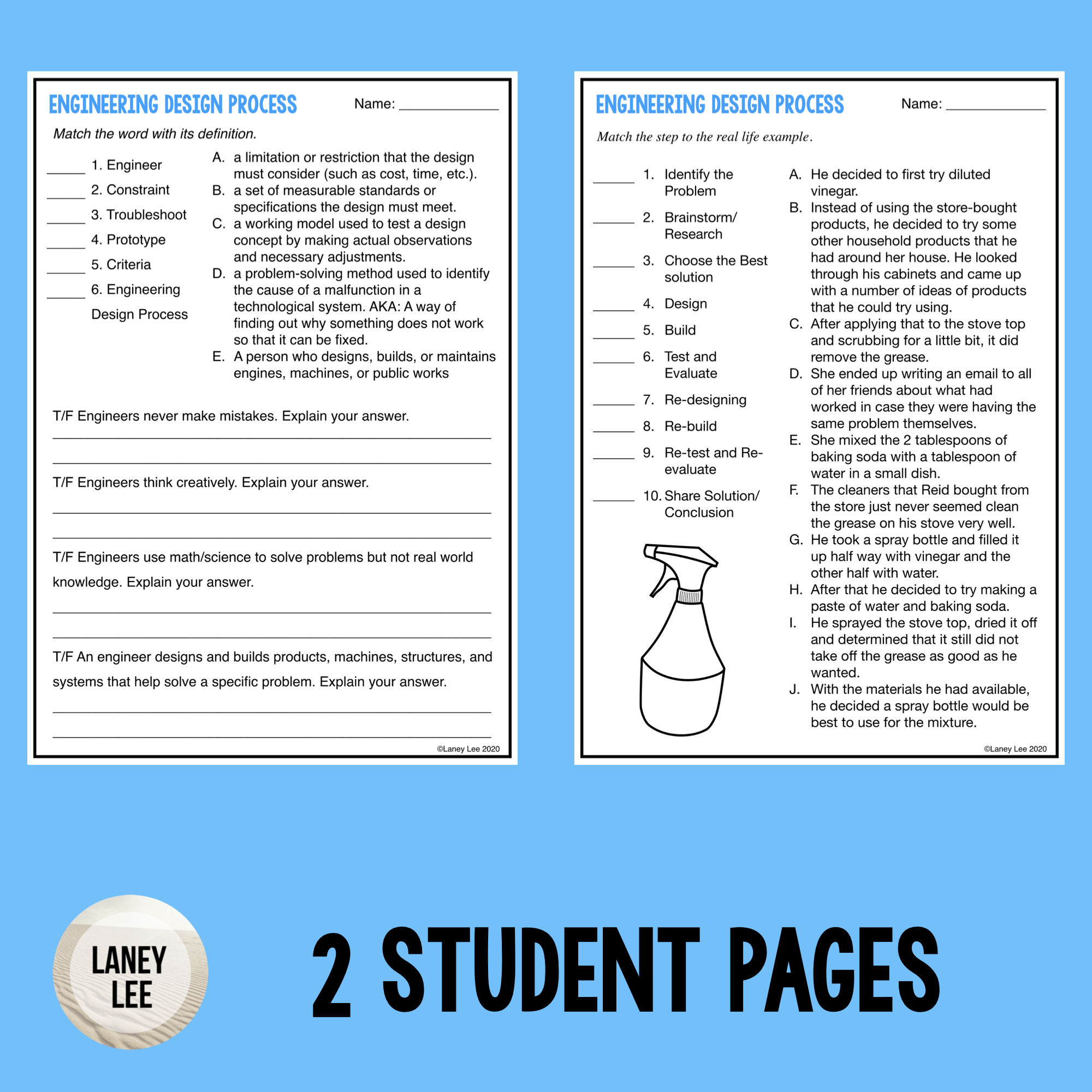 Engineering Design Process - Guided Reading Worksheet With Engineering Design Process Worksheet