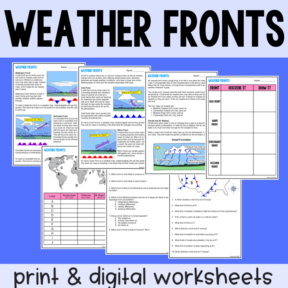 weather fronts guided reading worksheets
