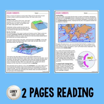 Ocean currents worksheet