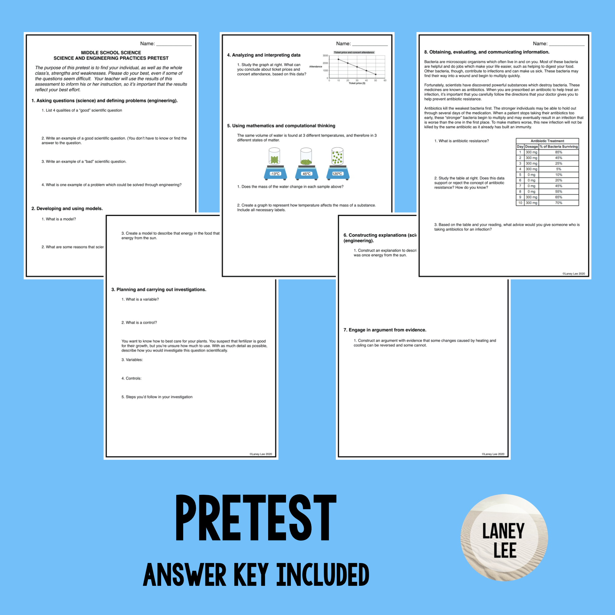 NGSS SEP Pretest - PDF & Google Forms with Answer Key Included