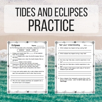 tides and eclipses worksheet