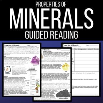 properties of minerals worksheet