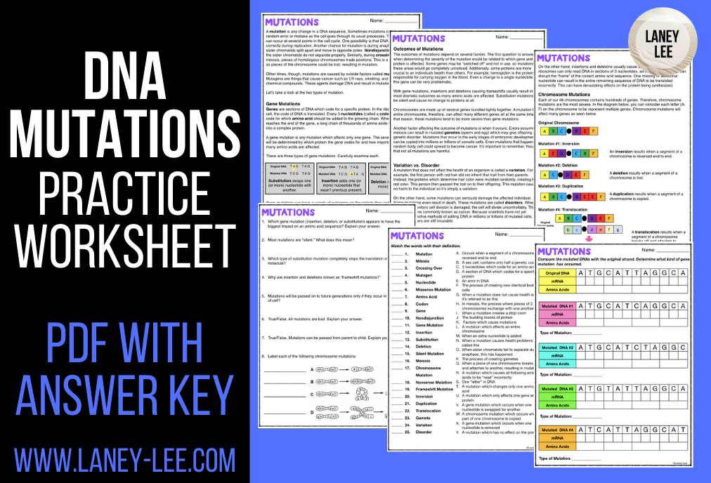DNA mutations practice worksheet with answer key pdf