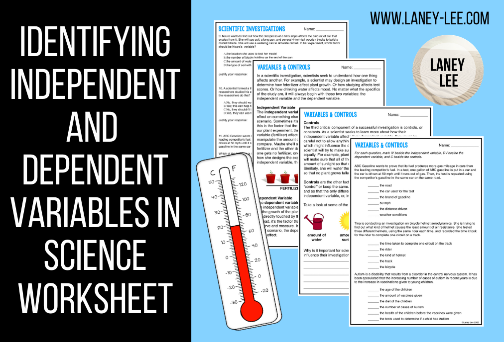 Identifying Independent and Dependent Variables in Science Worksheet