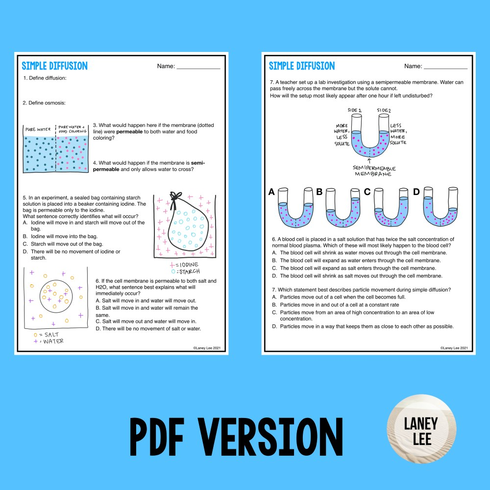 simple diffusion practice worksheet