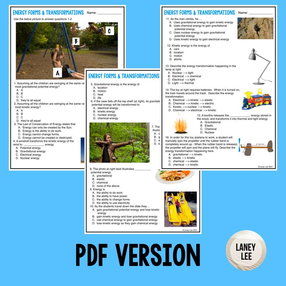 energy transformations quiz pdf answer key
