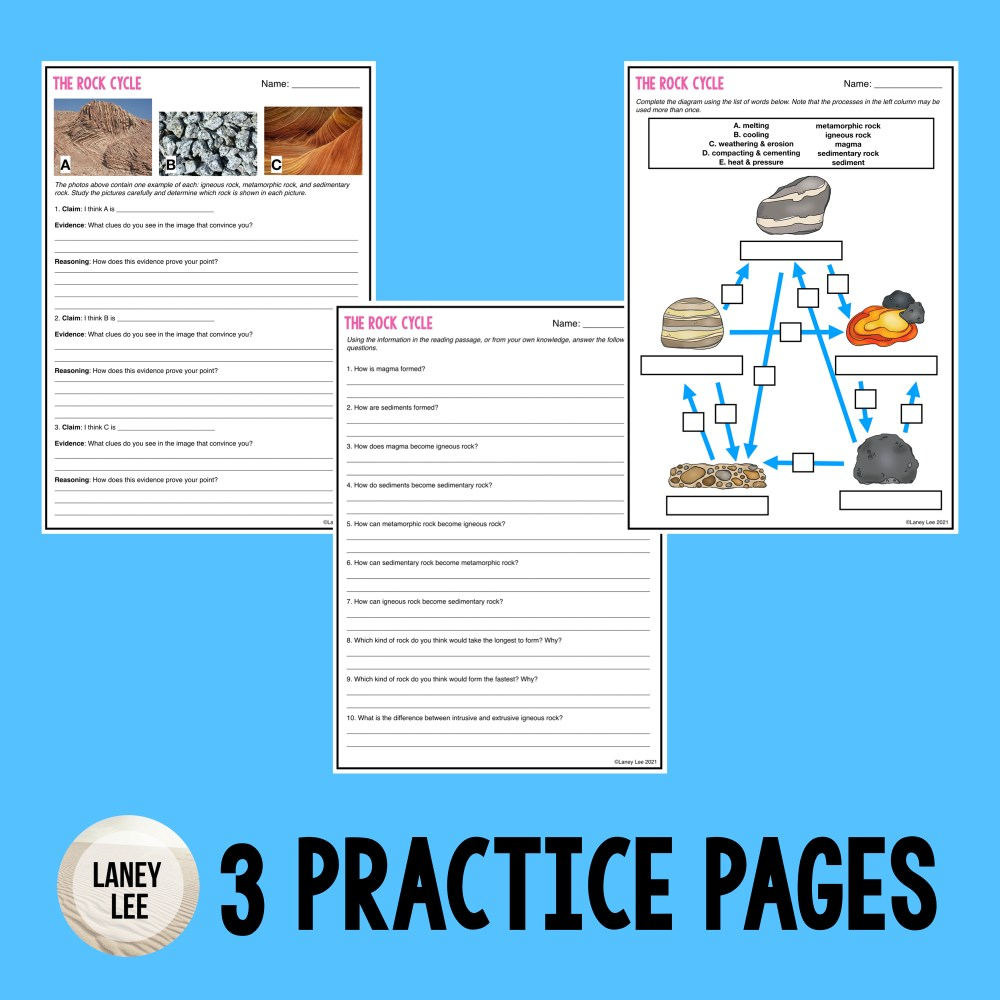 rock cycle worksheet pdf answer key