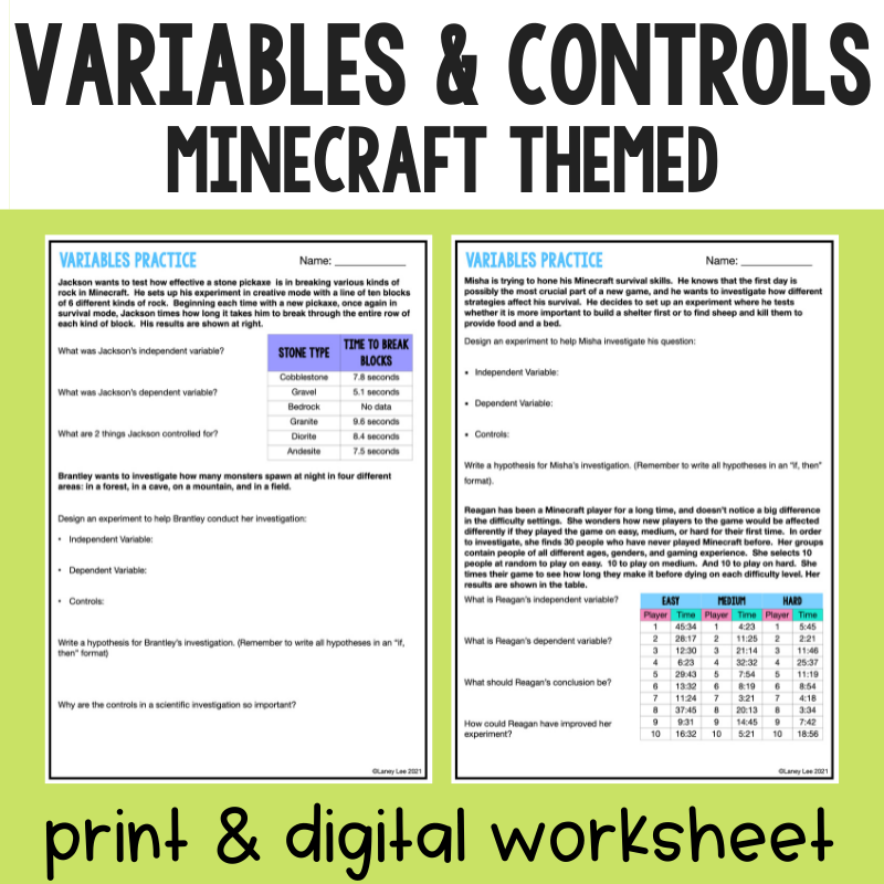 Identifying Variables and Controls Practice Worksheet