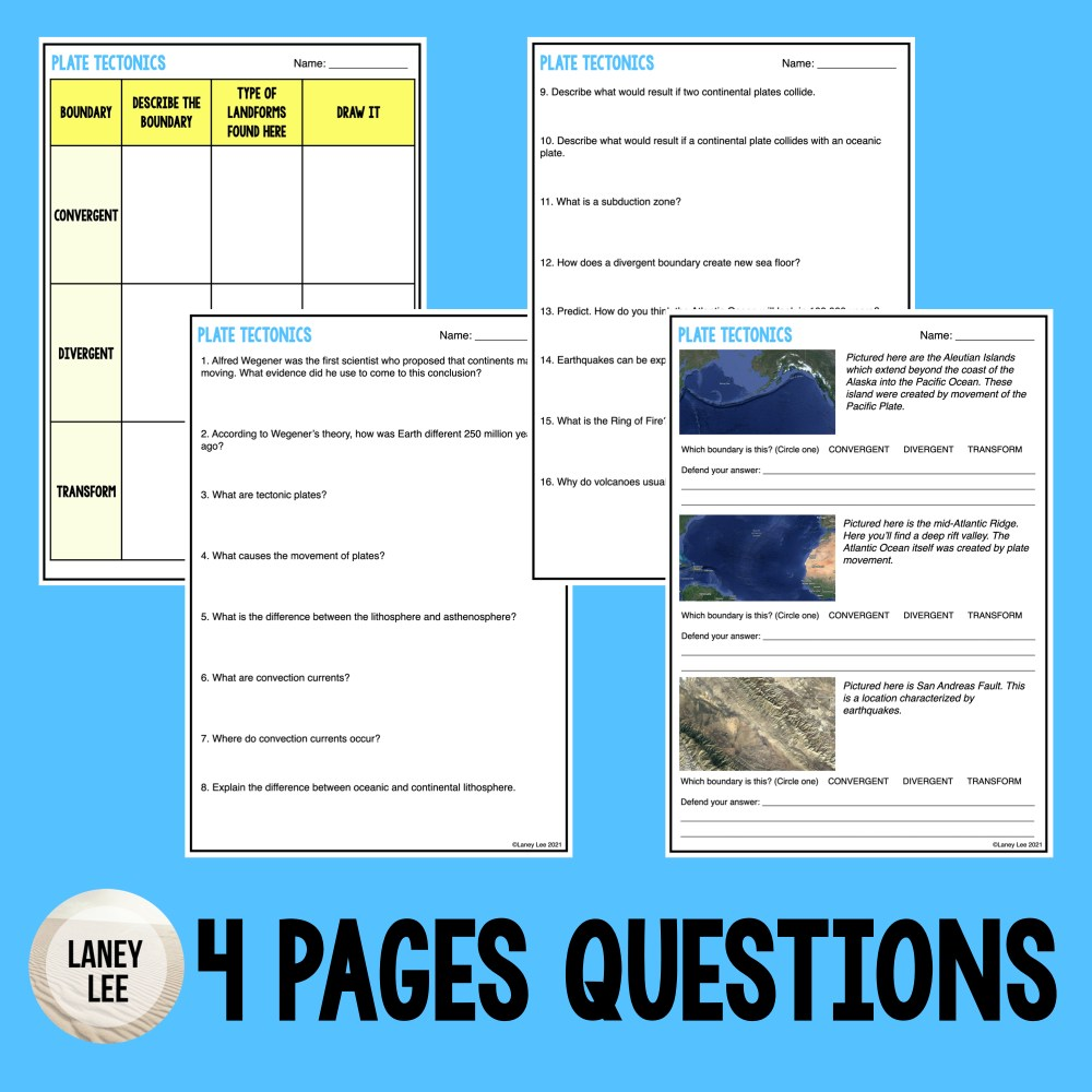 plate tectonics worksheet pdf answer key