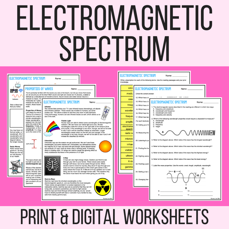 electromagnetic spectrum worksheet PDF answer key
