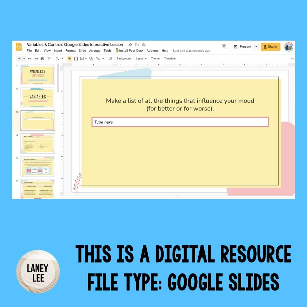 variables and controls google slides presentation