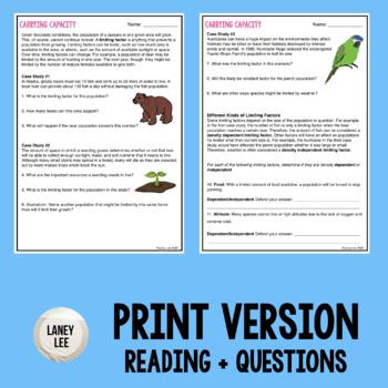limiting factors and carrying capacity worksheet pdf answer key