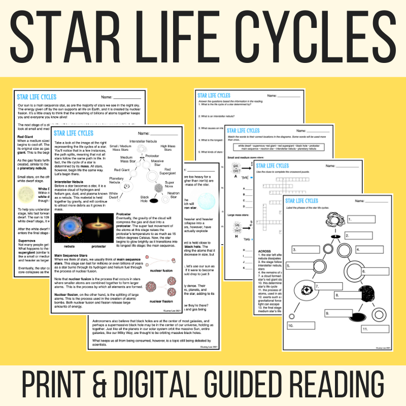 star life cycles guided reading worksheet