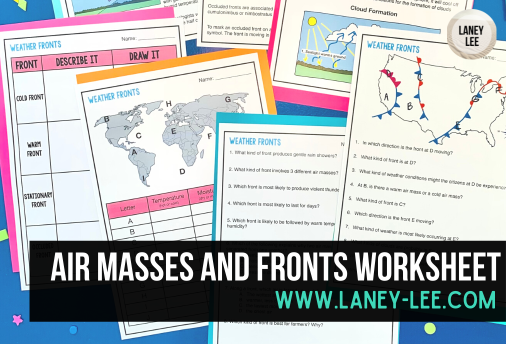 air masses and fronts worksheet pdf
