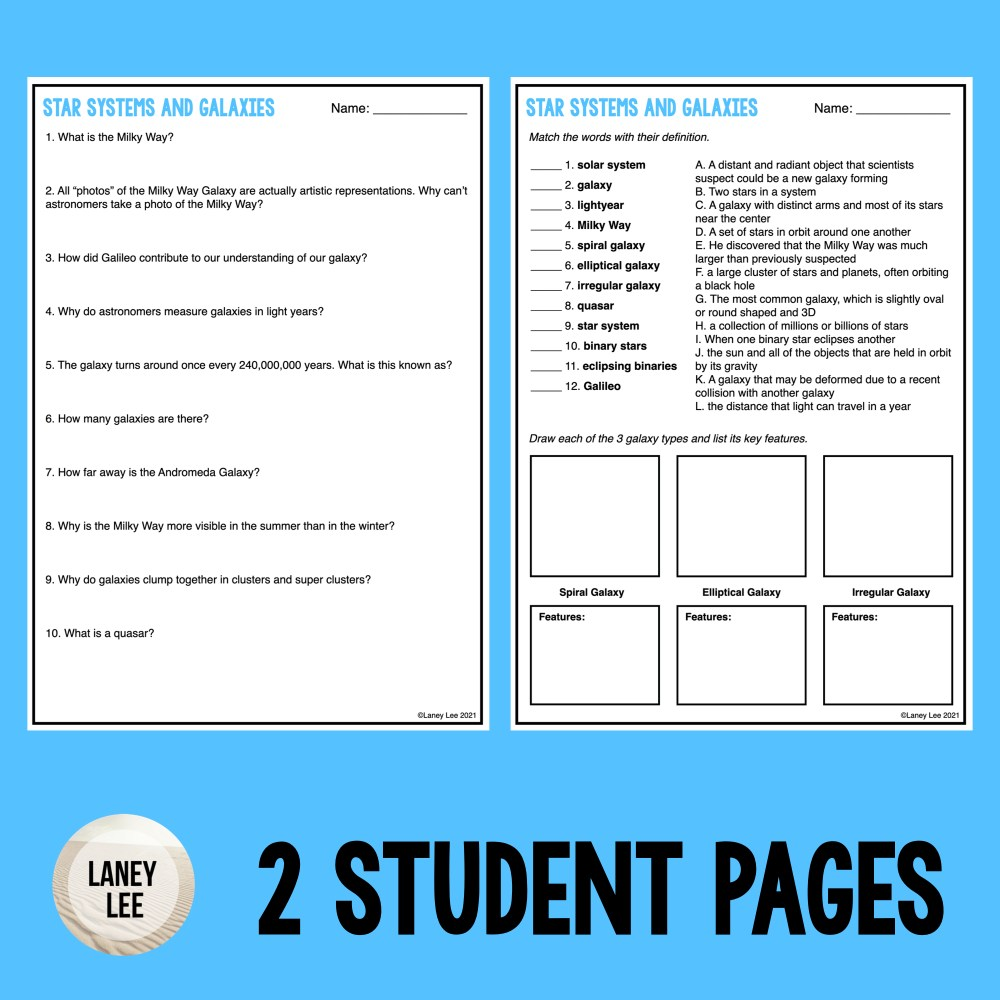 star systems and galaxies guided reading worksheet